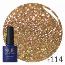 Гель-лак NUB № 114 (теплое золото, с блестками и слюдой)
