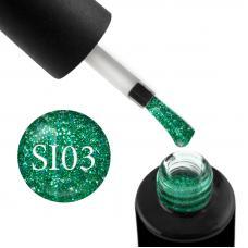 Гель-лак Naomi Self Illuminated SI 03 (зеленый с блестками и слюдой), 6 мл