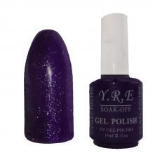 Гель лак YRE № 87 (фиолетовый с мелкой блесткой), 15 мл