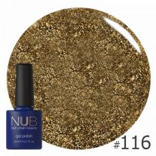 Гель-лак NUB № 116 (бронзово-зеленый, с блестками и слюдой)