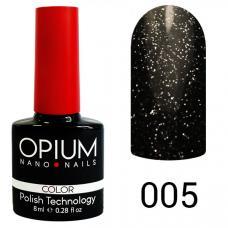 Гель-лак OPIUM №5 (черно-серый шимер), 8 мл