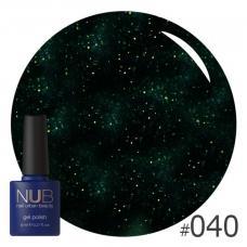 Гель-лак NUB № 040 (черный, плотный, с шиммерами)
