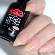 Гель лак PNB №002 (полупрозрачный светло-розовый, эмаль)