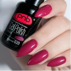 Гель лак PNB №020 (малиново-бордовый, с микроблеском)