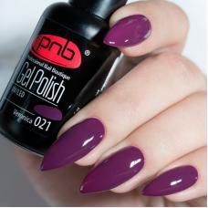 Гель лак PNB №021 (баклажаново-бордовый, эмаль)