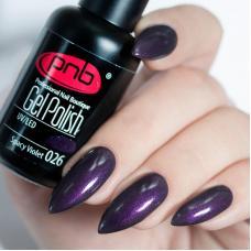 Гель лак PNB №026 (темно-фиолетовый, с микроблеском)