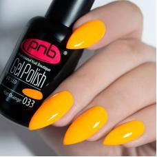 Гель лак PNB №033 (ярко-оранжевый неоновый, эмаль)