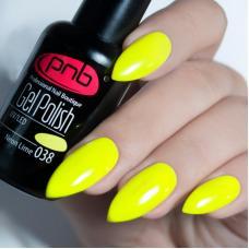 Гель лак PNB №038 (кислотно-желтый неоновый, эмаль)