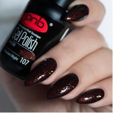 Гель лак PNB №107 (насыщенный черно-бордовый, с мелкими рубиново-красными блестками)