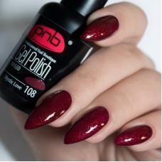 Гель лак PNB №108 (насыщенный бордовый, с мелкими рубиново-красными блестками)