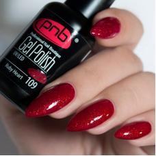Гель лак PNB №109 (насыщенный темно-красный, с мелкими рубиново-красными блестками)