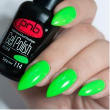 Гель лак PNB №114 (ярко-зеленый неоновый, эмаль)