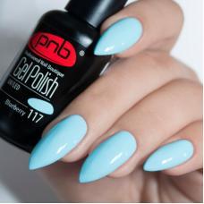 Гель лак PNB №117 (пастельный бирюзово-голубой, эмаль)