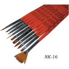 Набор кистей для рисования и наращивания YRE Nail Art Brush NK-16, 10 шт.
