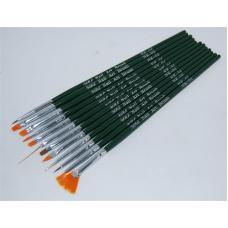 Набор кистей для рисования и наращивания YRE Nail Art Brush NK-04, 12 шт
