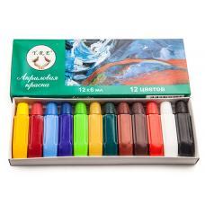 Набор акриловых красок для рисования, 12 цветов по 6мл