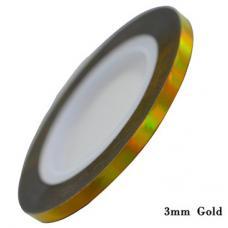 Маникюрная самоклеющаяся нить для дизайна ногтей золото,ширина 3мм