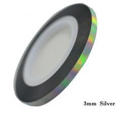Маникюрная самоклеющаяся нить для дизайна ногтей серебро,ширина 3мм