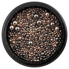 Металлические бульонки разного размера Пудра&Черный