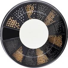 Металлические бульонки разного размера в карусели Пудра&Черный