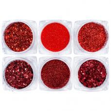 Набор красного декора для ногтей 6 баночек