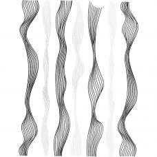 Гибкая волнистая лента для ногтей Серебро&Черный,ширина 0.4 мм