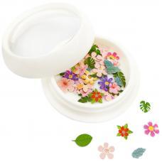 Пластиковый декор Fashion Jewellery в круглой баночке экзотические цветы