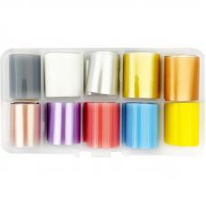 Набор матовой фольги для дизайна ногтей, 10 шт