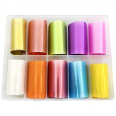 Набор широкой матовой фольги для дизайна ногтей, 10 шт