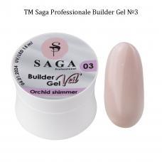 Гель для наращивания SAGA Builder Gel Veil №3 Orchid shimmer, 15 мл
