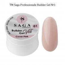 Гель для наращивания SAGA Builder Gel Veil №1 Cover Pink, 15 мл