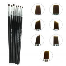 Набор кистей для наращивания ногтей NK-13 (черная ручка),7 шт.
