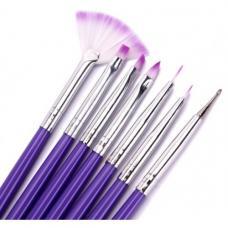 Набор кистей для дизайна ногтей (фиолетовая ручка), 7шт.