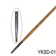 Кисть скошенная для рисования, деревянная ручка YKSD-01