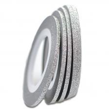 Маникюрная самоклеющаяся сахарная нить для ногтей в рулоне, серебро, 3 мм