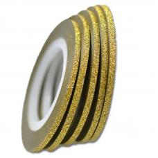 Маникюрная самоклеющаяся сахарная нить для ногтей в рулоне, золото, 3 мм