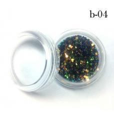 Украшение для дизайна ногтей брокард пластик №4 (цвет изумрудный)