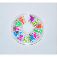Металлический цветной декор для ногтей в каруселе DMC-01