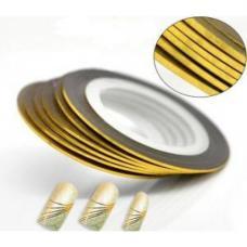Маникюрная самоклеющаяся нить для дизайна ногтей золото,ширина 1 мм