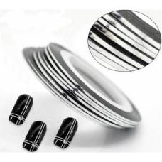 Маникюрная самоклеющаяся нить для дизайна ногтей серебро,ширина 0,8мм