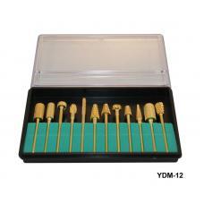 Набор насадок для фрезера 12 шт (металл-золото)